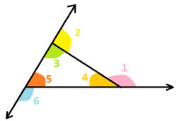 Adjacent interior angle of triangle at algebra den - Which of the following are exterior angles ...