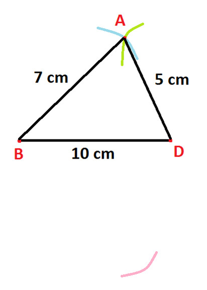 Construction of quadrilateral where four sides one diagonal are step 8 again use compass and 6 cm wide open with d as center draw another arc which cuts previous arc made in step 7 as shown below ccuart Gallery